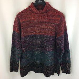 multicolor rainbow turtleneck sweater XL